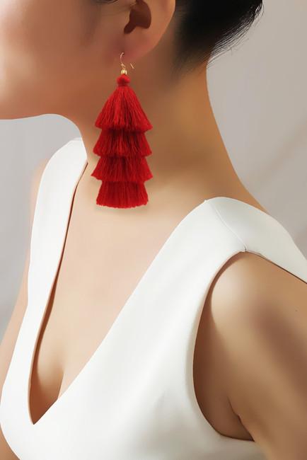 Taolei, Red Tiered Tassel Earring